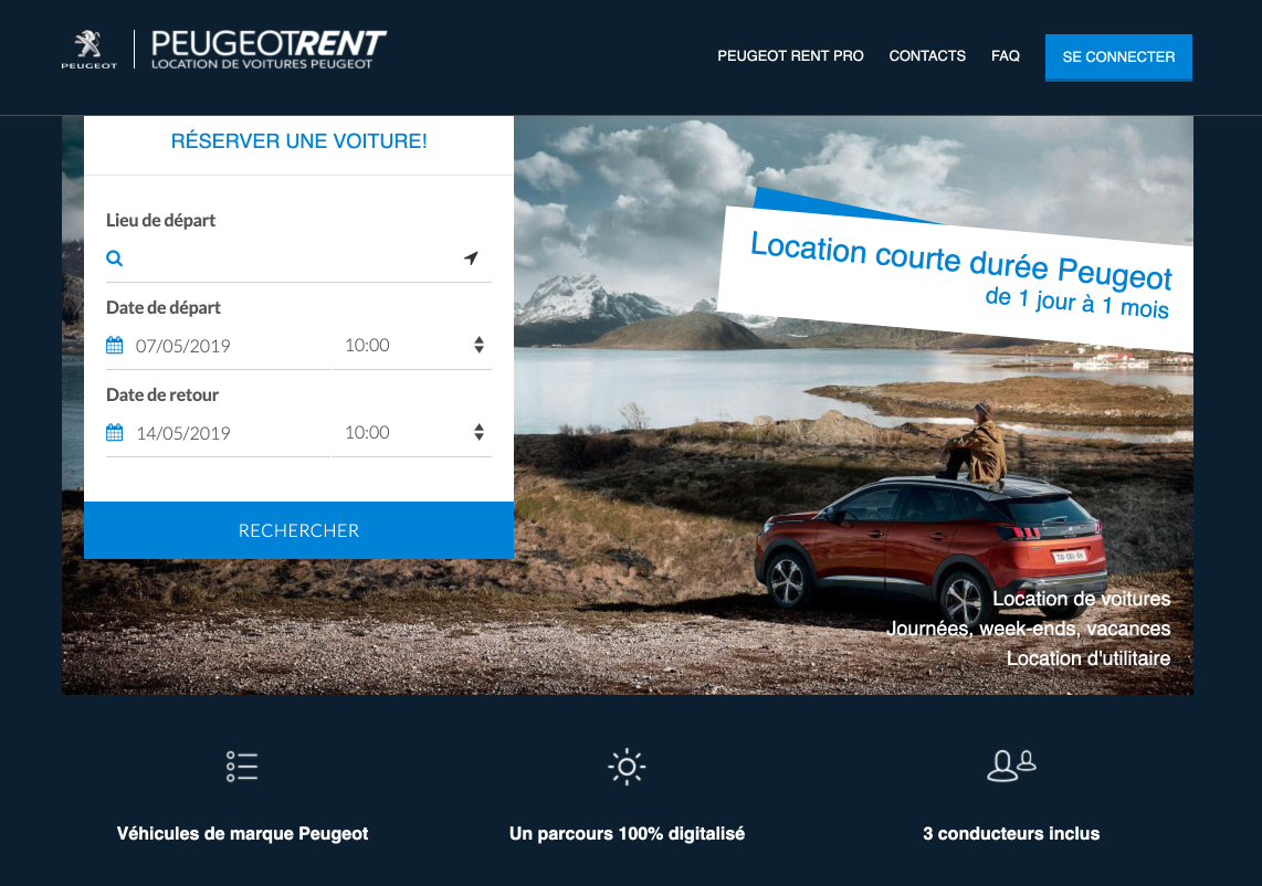 Peugeot Rent Car Rental Platform